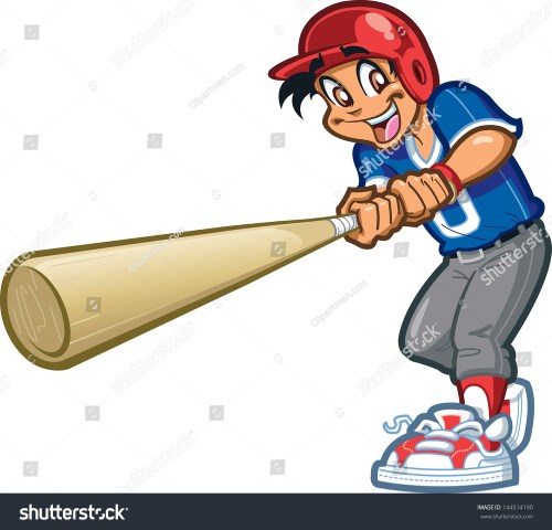 small resolution of happy smiling baseball softball little league player swinging a giant bat with batter s helmet