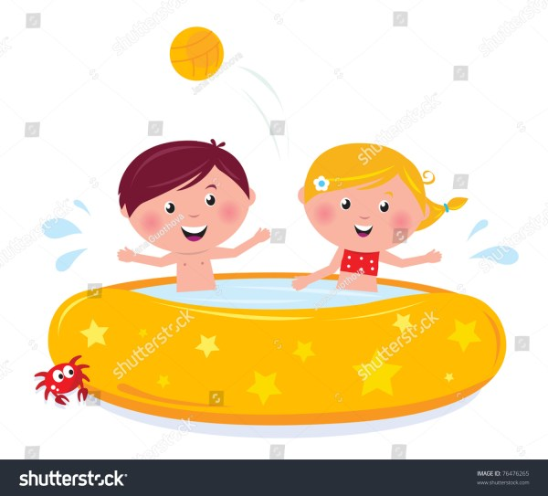 Happy Smiling Kids Swimming Pool Summer Stock Vector