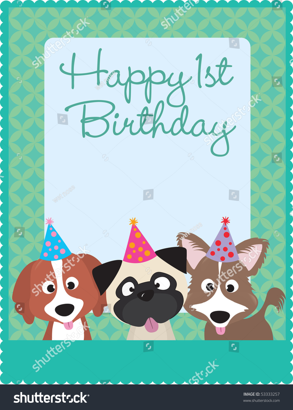 Happy 1st Birthday Puppies Stock Vector Illustration 53333257 Shutterstock