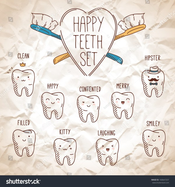 Happy Teeth Set Dental Collection Your Stock Vector