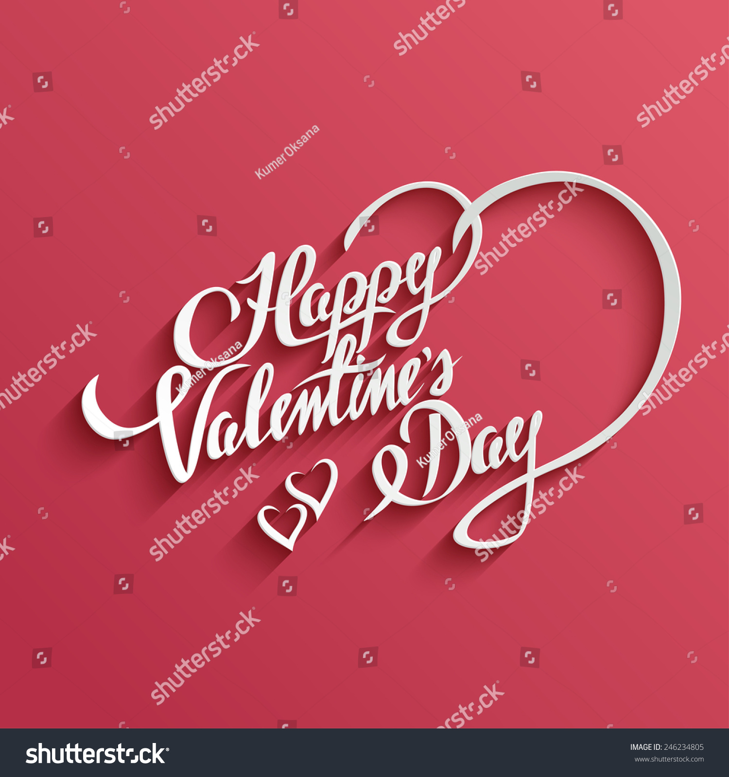 Happy Valentines Day Hand Lettering Greeting Stock Vector
