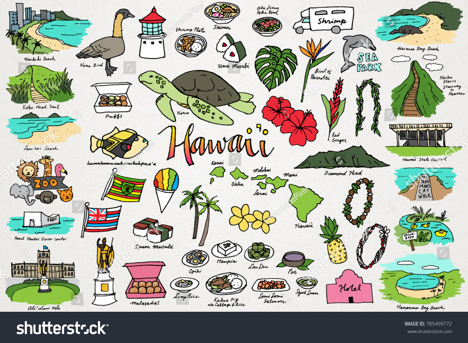 hight resolution of hawaii tropical island clipart set hawaiian flowers beaches plants nature