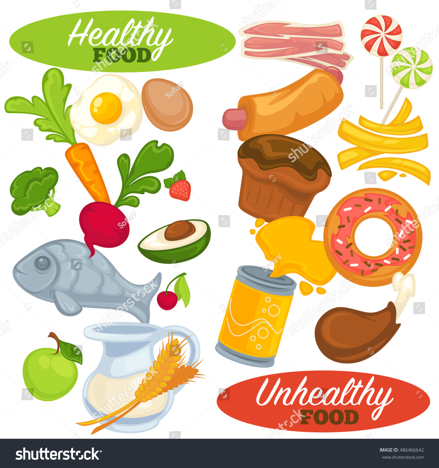 Healthy Unhealthy Food Set Icons Fast Stock Vector