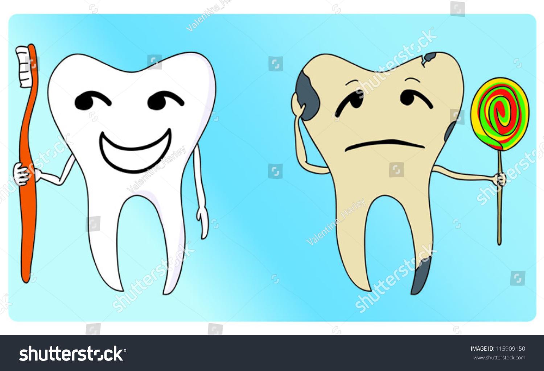Healthy Unhealthy Tooth Stock Vector