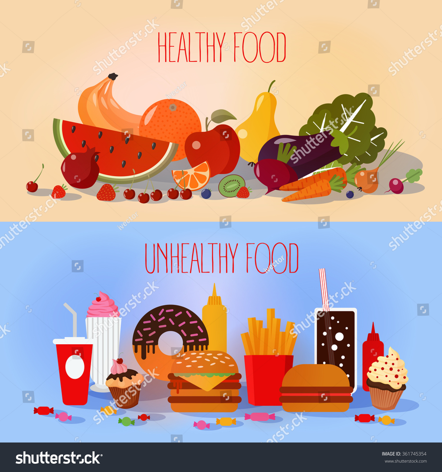 Healthy Food Unhealthy Fast Food Fruits Stock Vector