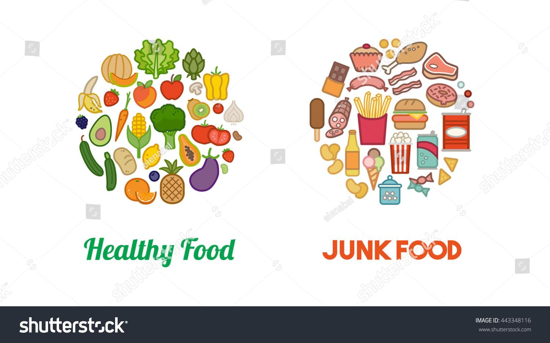 Healthy Fresh Vegetables Unhealthy Junk Food Stock Vector