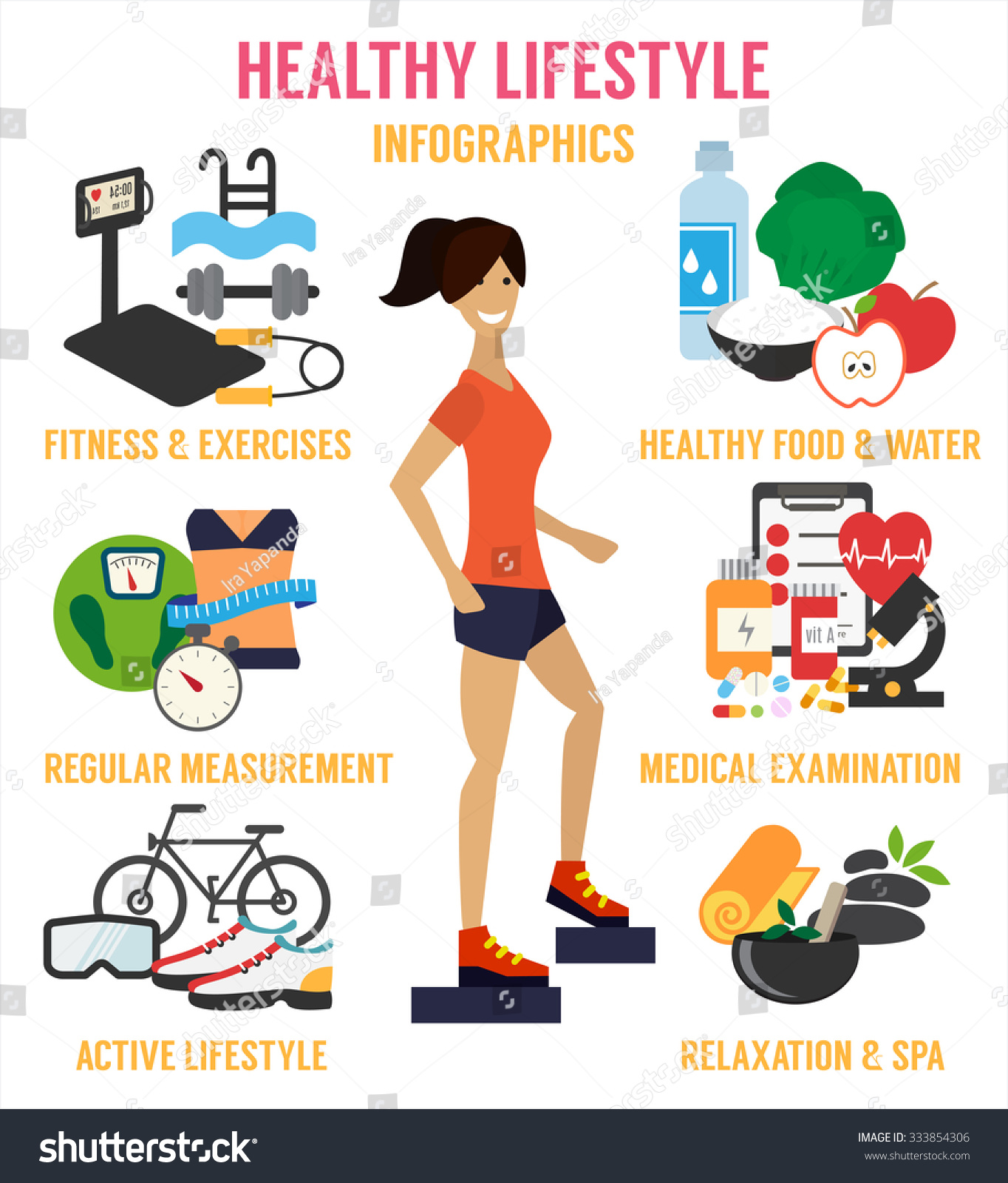 Healthy Lifestyle Infographic Fitness Healthy Food Stock