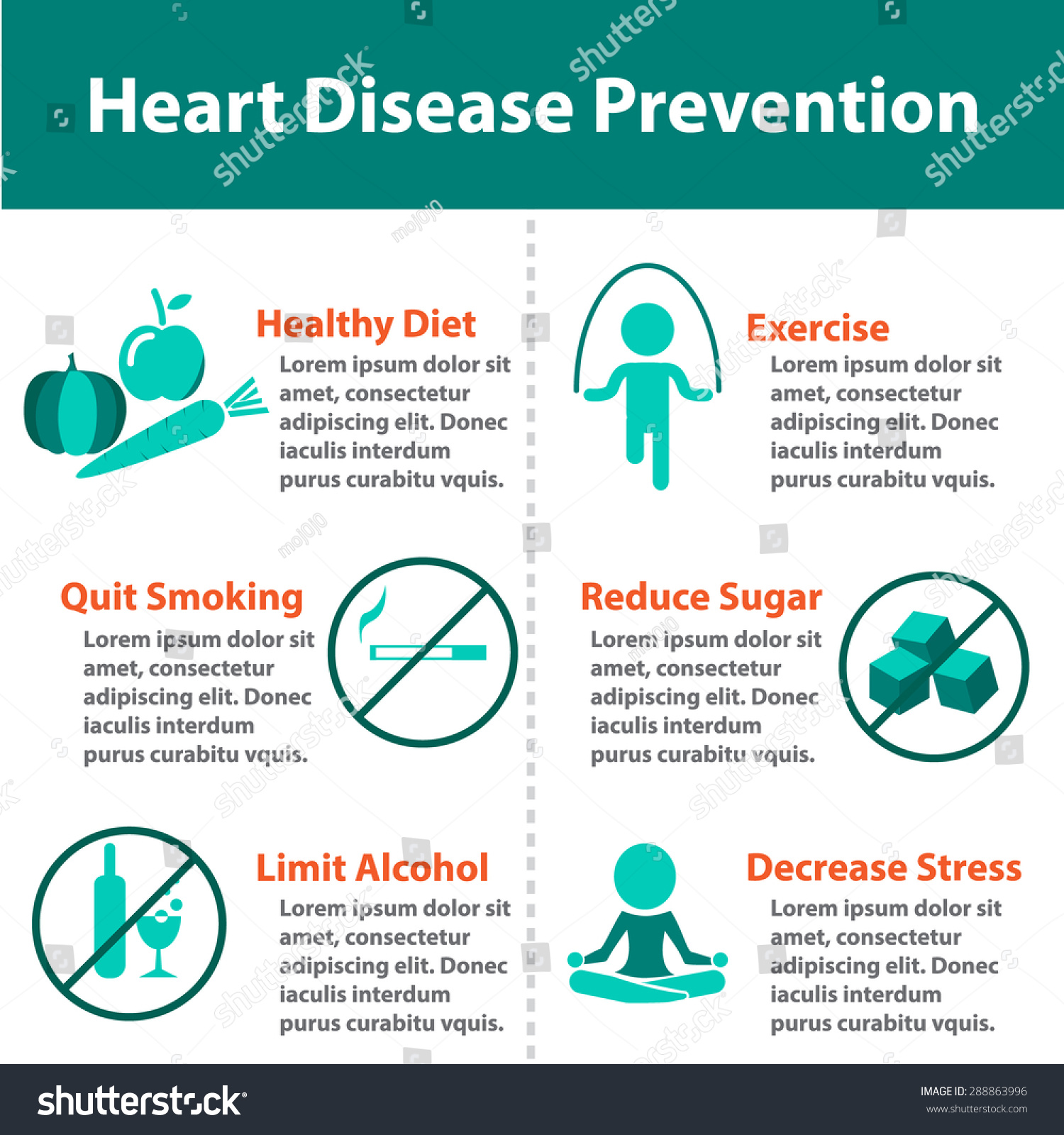 Heart Disease Prevention Infographics For For Medical. Isolated Icon And Object Stock Vector 288863996 : Shutterstock