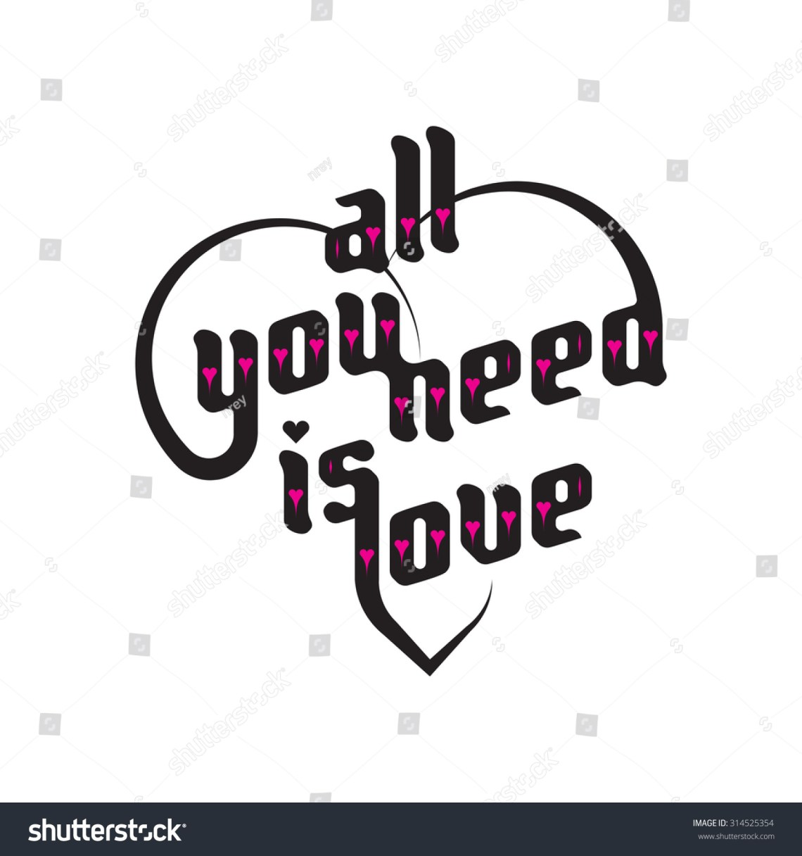 Download Heart Typography. All You Need Is Love. Love Typography ...
