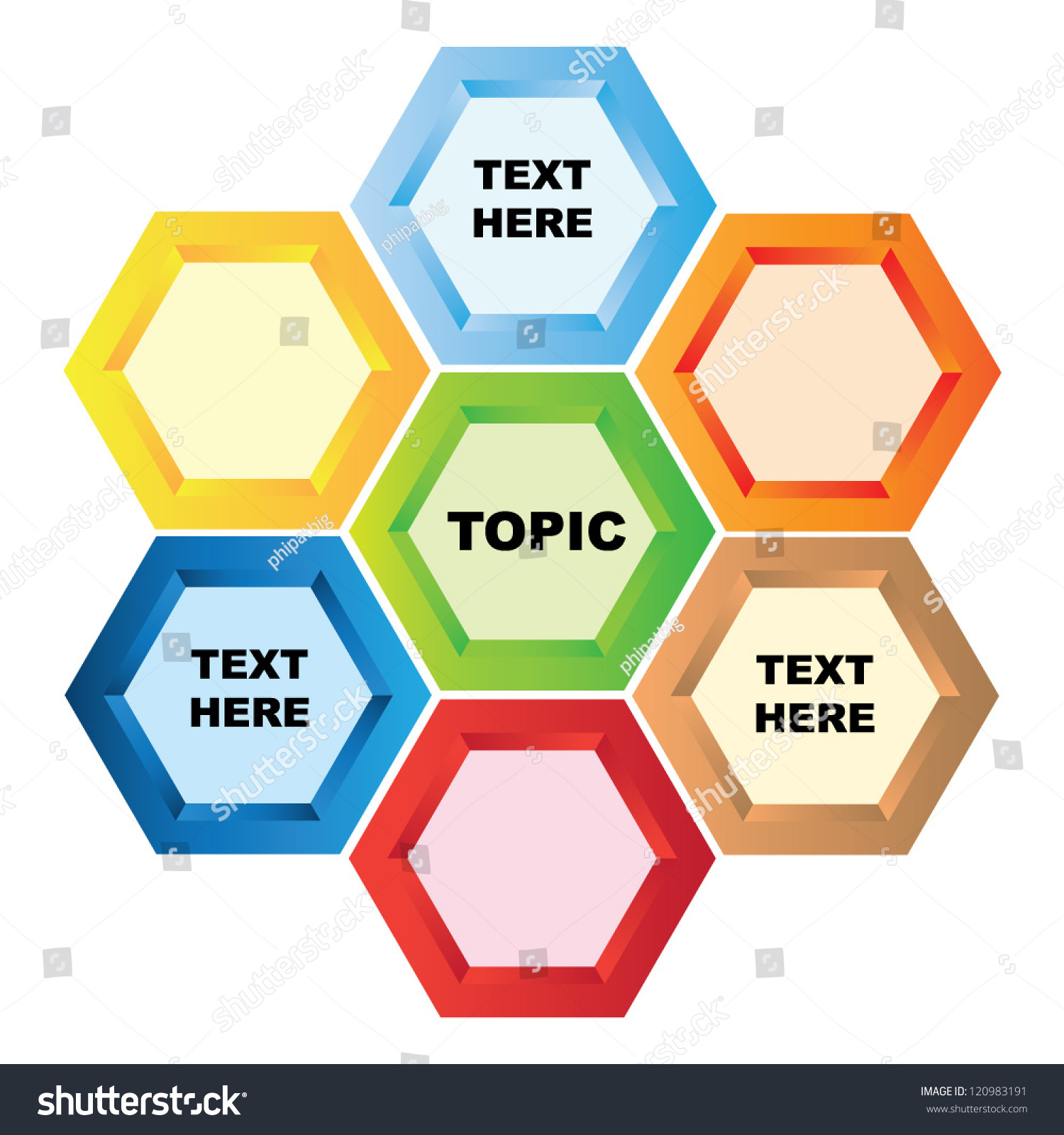 hight resolution of hexagon diagram presentation template