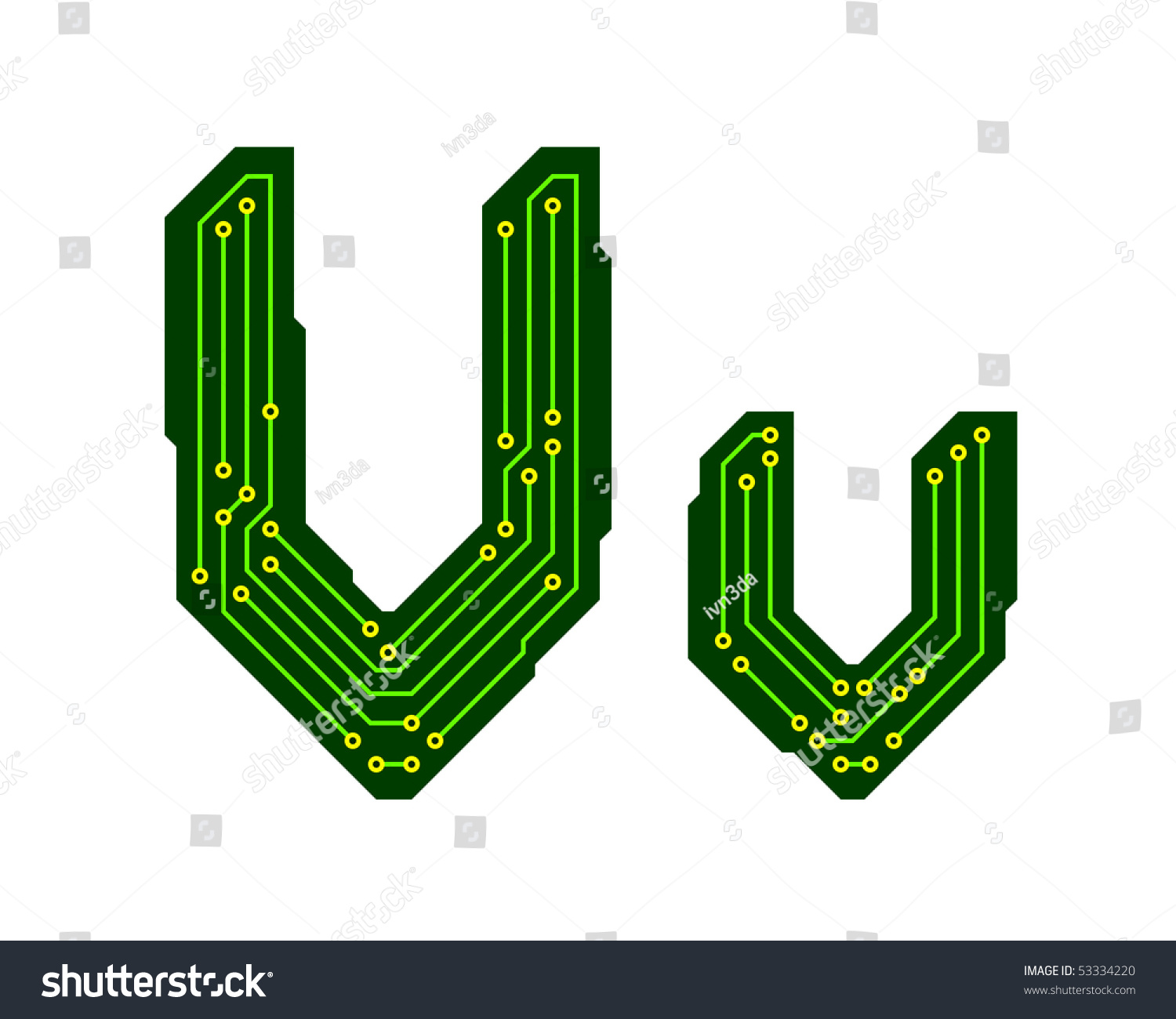 Alphabet Of Printed Circuit Boards Easy To Edit Capital Letter E