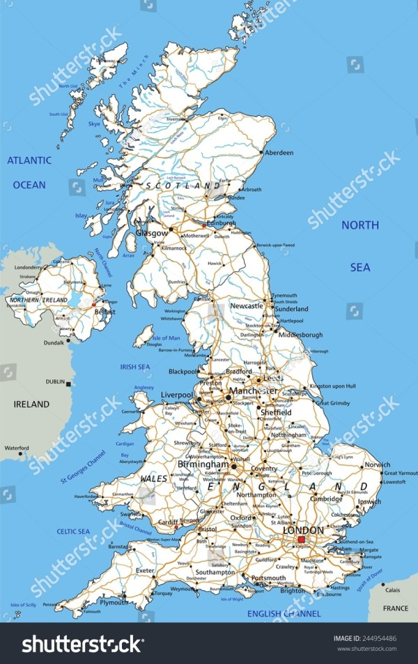 High Detailed United Kingdom Road Map With Labeling Stock