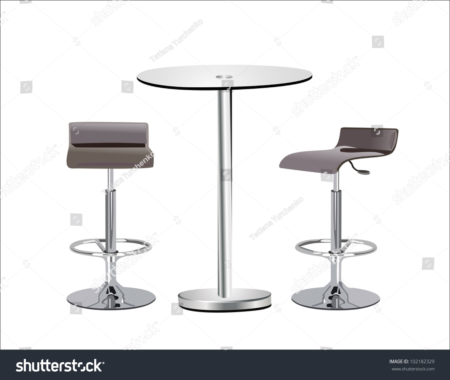 Table Top High Chair High Glass Top Table W Chairs Stock Vector 102182329