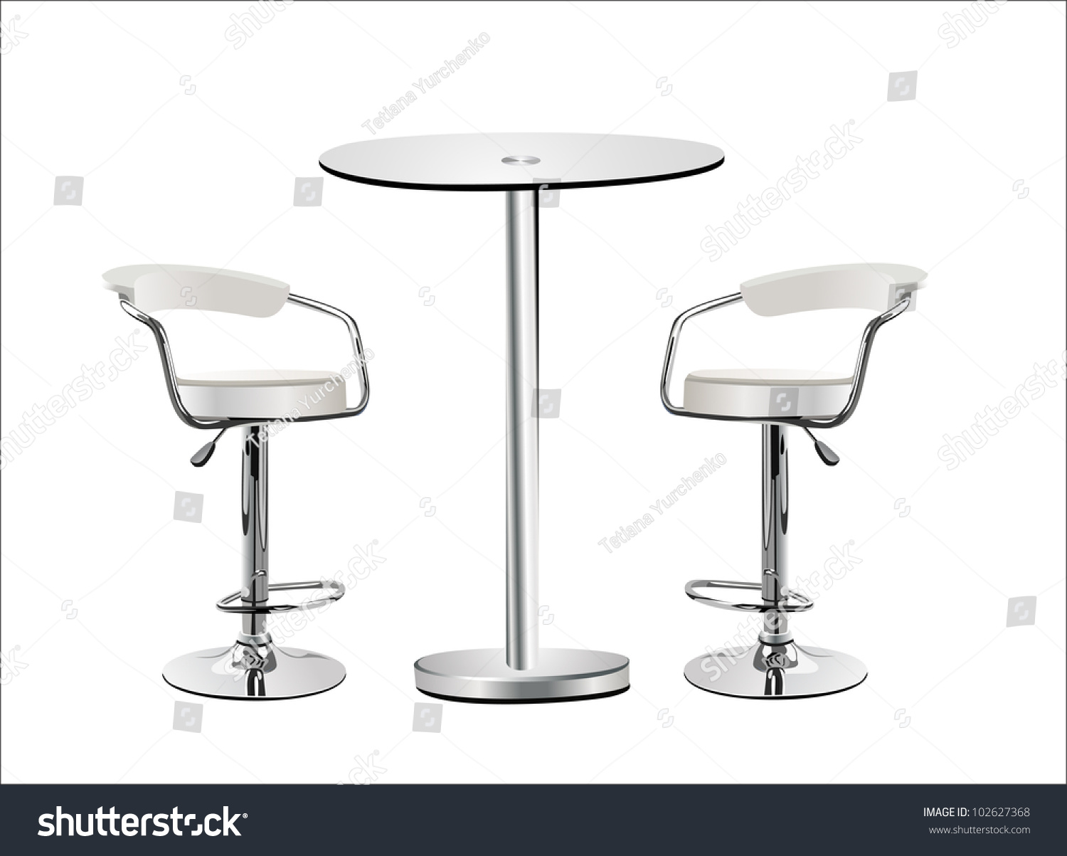 Table Top High Chair High Glass Top Table W Chairs Stock Vector 102627368