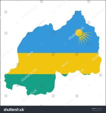 High Resolution Rwanda Map With Country Flag. Flag Of