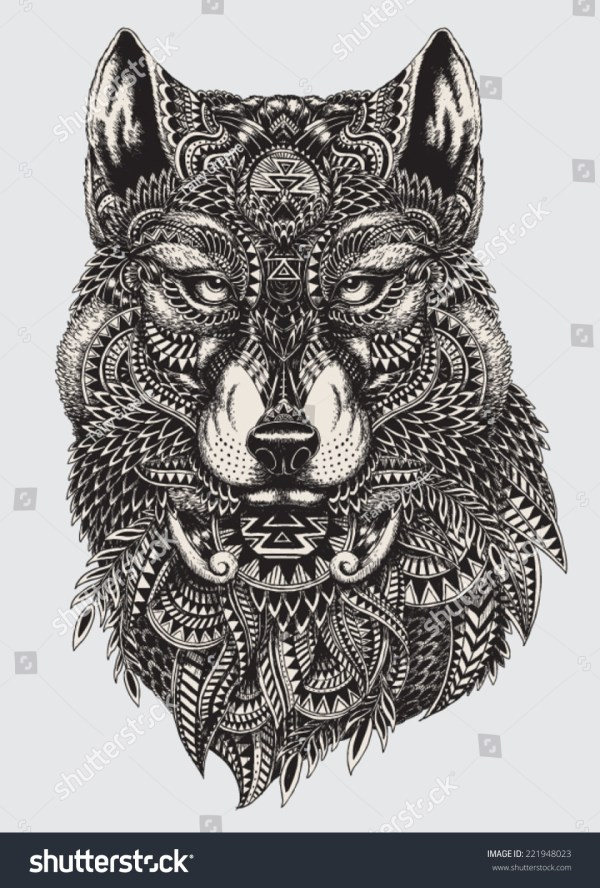 Highly Detailed Abstract Wolf Illustration Stock Vector