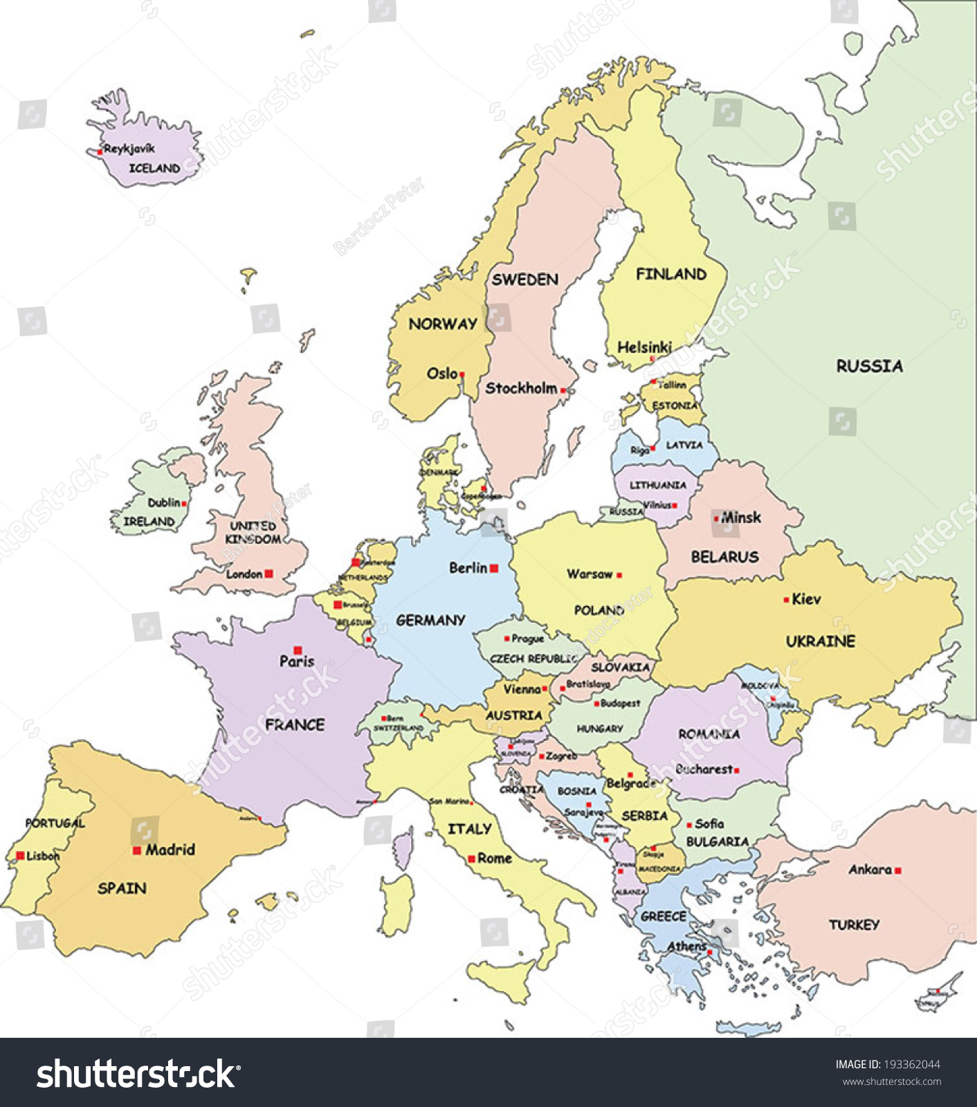 Highly Detailed Europe Political Map Country Stock Vector