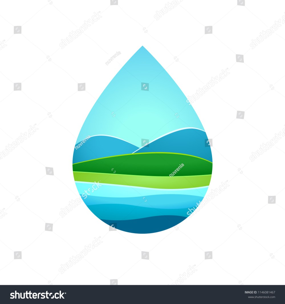 medium resolution of hill and lake inside blue water frame