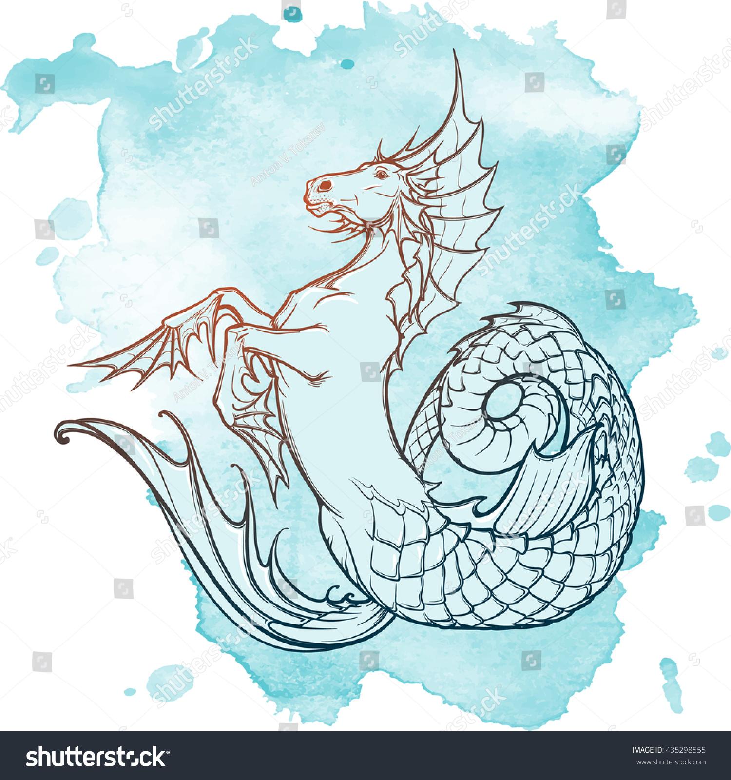 Hippocampus Greek Mythological Creature. Kelpie Scottish Fairy Tale Water Horse. Vintage Tattoo ...