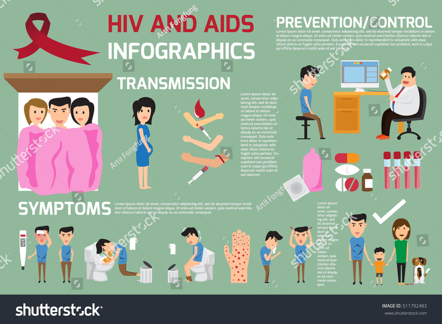 Hiv Aids Elements Infographics This Graphics Stock Vector