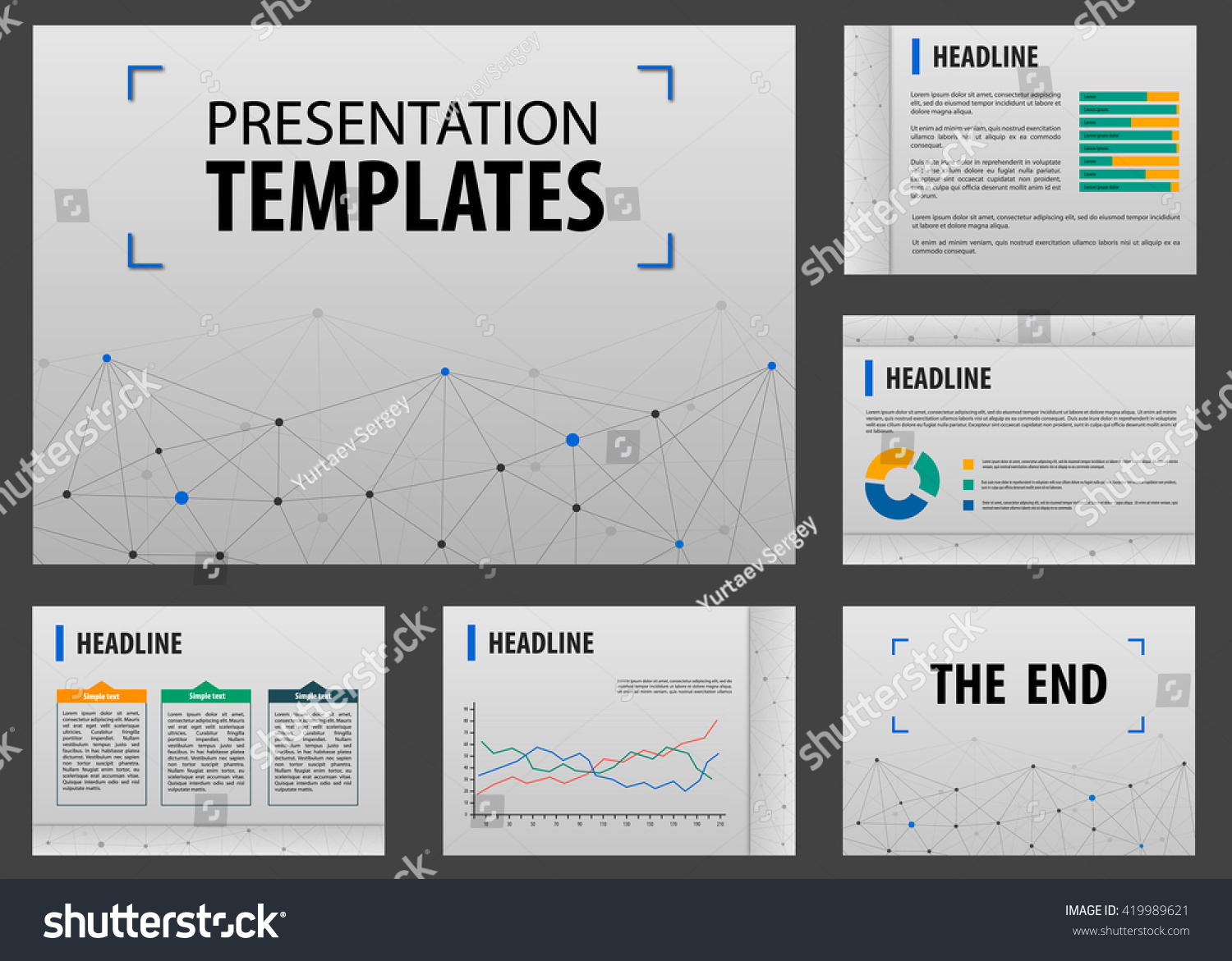 Horizontal Annual Report Visualization Layout Powerpoint Stock Vector