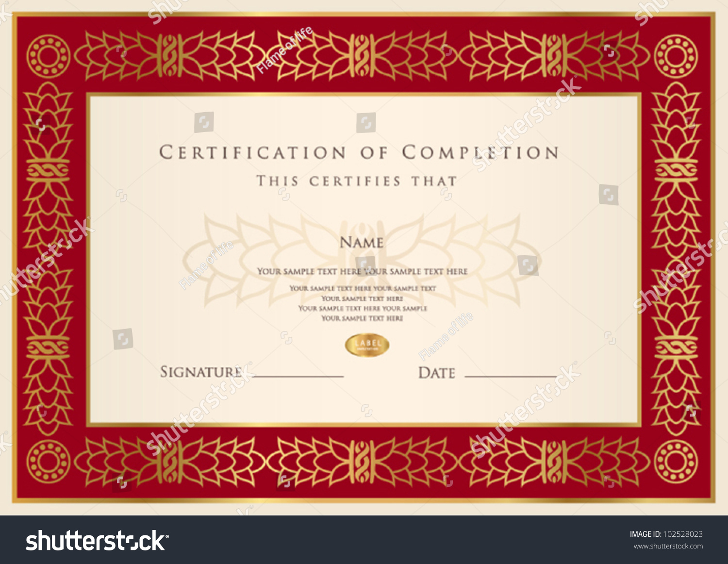 Horizontal Certificate Of Completion Template With Golden Pattern And Red  Frame. This Design Usable For