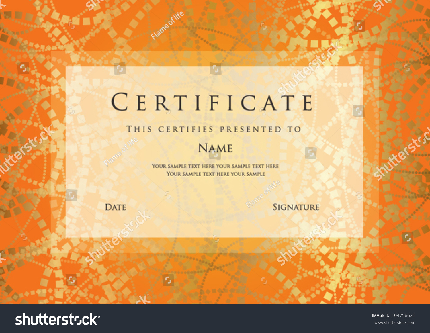 Horizontal Orange Certificate Of Completion Template With Abstract Pattern  And Frame. This Design Usable For