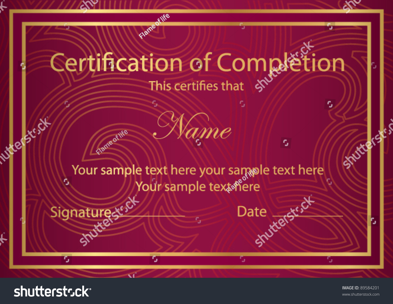 Horizontal Red Certificate Of Completion Template With Golden Floral  Pattern And Border. This Design Usable