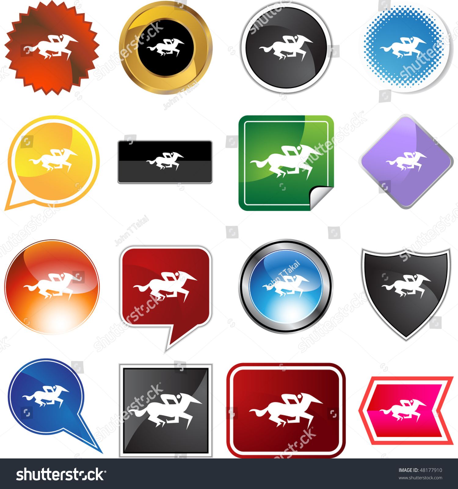 hight resolution of horse jockey stick figure isolated web icon on a background