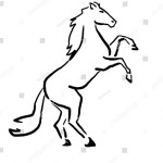 Horse On Hind Legs Black White Stock Vector Royalty Free 672180169