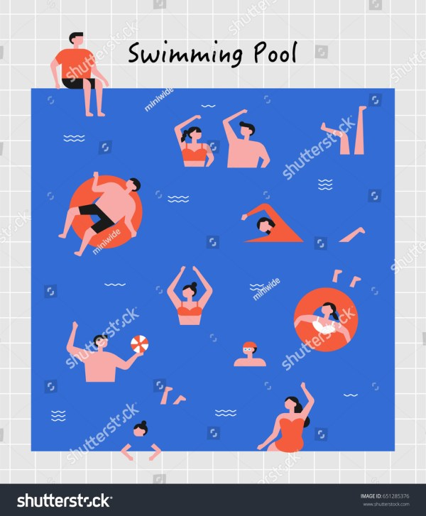 Hot Summer Swimming People Vector Illustration