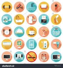 Hotel Accommodation Amenities Services Icons Set Stock