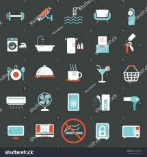Hotel Amenities Icons Symbols