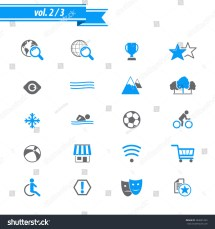 Hotel And Amenities Services Icons. Stock Vector