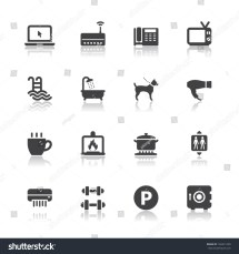 Hotel And Amenities Services Icons With White