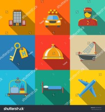 Hotel And Service Modern Flat Icons Set Color Squares