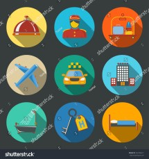 Hotel Service Modern Flat Icons Set Stock Vector 204186517