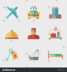 Hotel Service Modern Flat Icons Set Stock Vektor 204186508