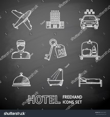 Hotel Service Monochrome Painted Black Stock Vector