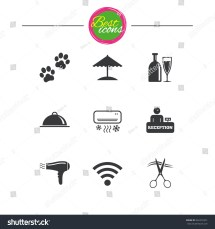 Hotel Apartment Services Icons Wifi Internet Stock Vector