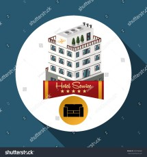 Hotel Design Travel Icon Isolated Flat Stock Vector