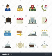 Hotel Icons And Services With White Background