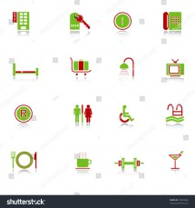 Hotel Icons With Reflection Green-red Series Stock Vector