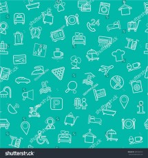 Hotel Services Seamless Background Green Vector Stock