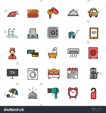 Hotel Services Vector Icon Set Stockvector 441088120