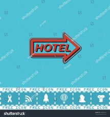 Hotel Signboard Vector Red Flat Symbol Stock