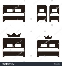 Hotel Twin Double Beds Simple Flat Stock Vector 721186927
