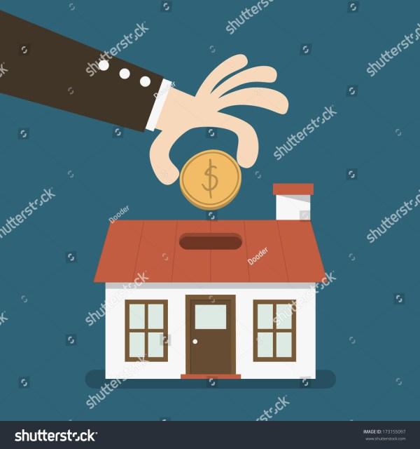 House Shaped Piggy Bank Stock Vector Illustration