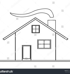 house sketch vector with chimney and smoke from fireplace  [ 1500 x 1378 Pixel ]