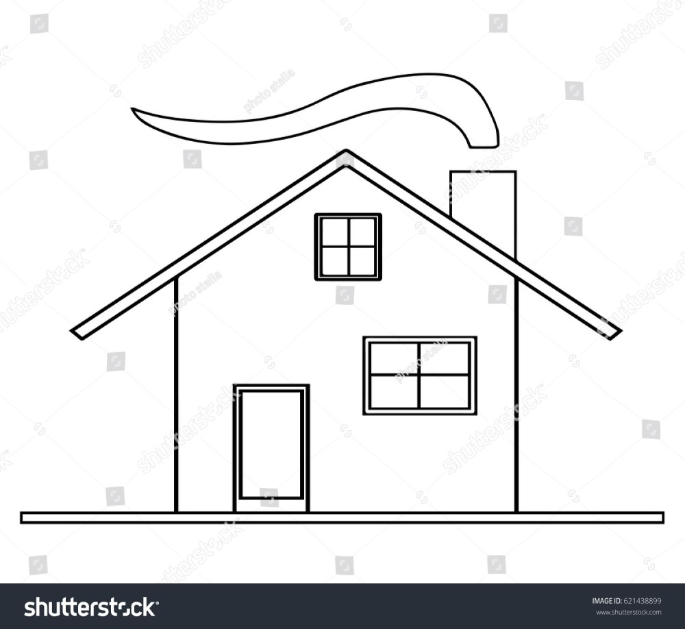 medium resolution of house sketch vector with chimney and smoke from fireplace